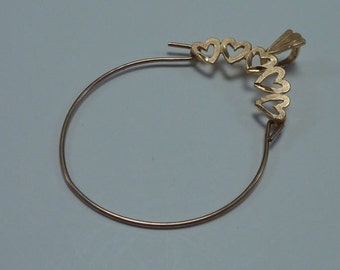 1 Gram 14K Yellow Gold Charm Hanger with Hearts