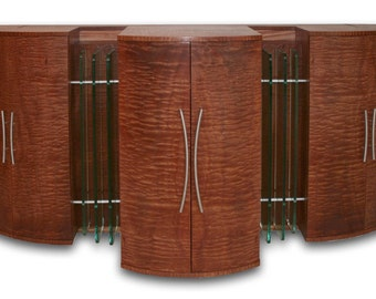 "Modern Media Cabinet, TV Lift, Entertainment Center, Art Deco Style, ""The Gable"""