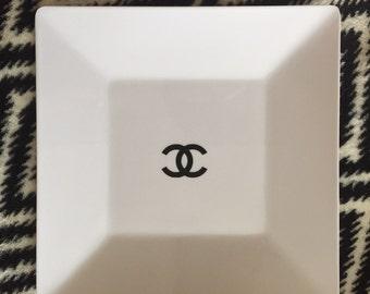 Black or gold logo designer inspired White melamine vanity tray storage