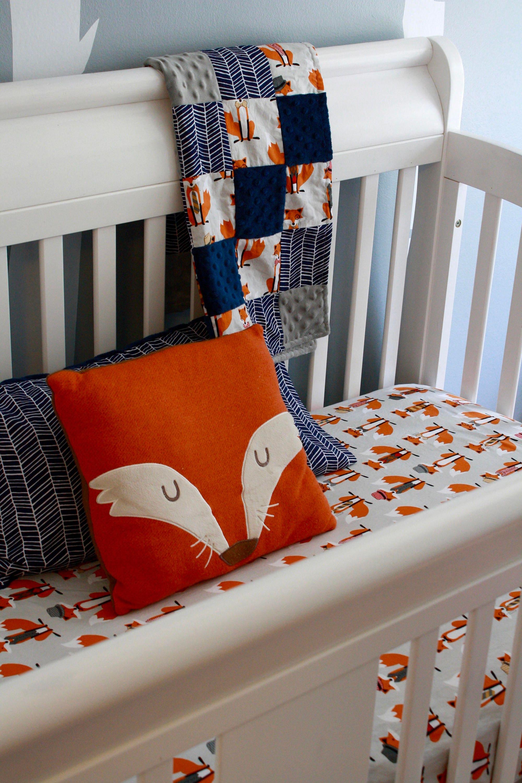 Fox Nursery Set Fox Crib Sheet Fox Baby Blanket