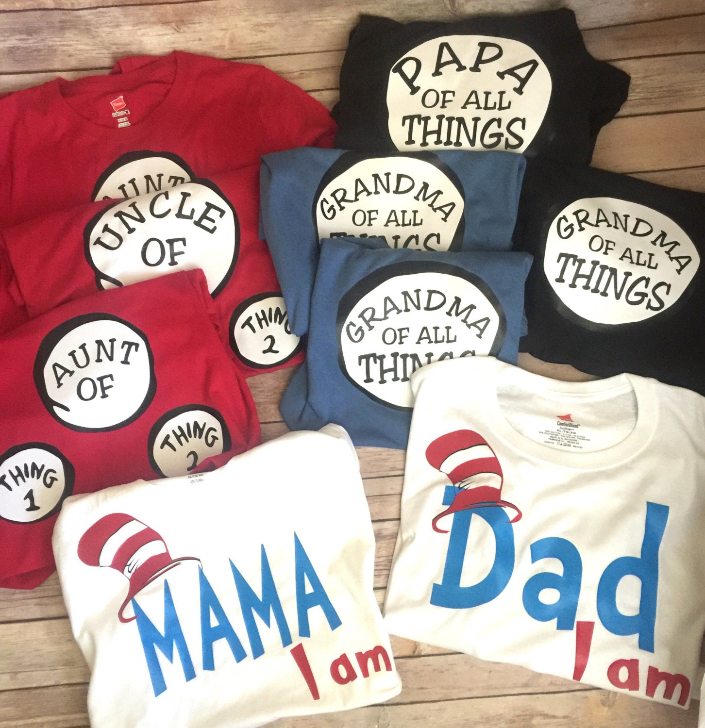 Thing One And Thing Two Inspired Family Set Birthday Shirts