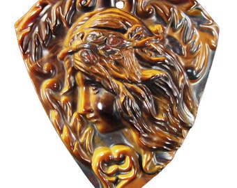 Magnificent 'Spirit' Goddess Cameo Pendant Focal Bead -  large - drilled to be pendant