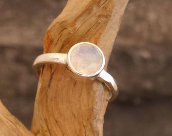 Tiny silver ring with moonstone