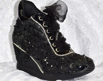 Black Shoes Prom Party Homecoming High Heeled Wedge Sneakers (Jasmin)