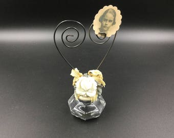 Vintage Glass Doorknob Photo/Note Holder