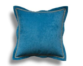 Blue Velvet Throw Pillow Cover - Solid Throw Pillow Cover - Blue Throw Pillows - Velvet Pillow Cover - Flange Pillow with Zipper