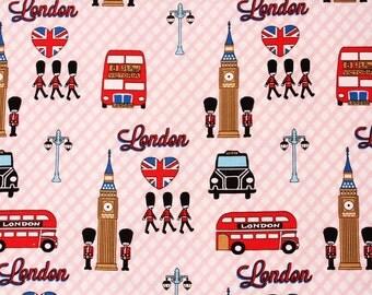 Oxford] British London Big Ben Union Jack Flag Fabric made in Korea by the Half Yard