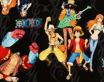 """One Piece animation Character Fabric made in Japan 60cm X 108cm or 23.6"""" X 43"""""""