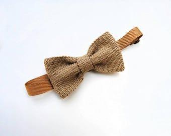 Bow tie for men beige, papillon lanandolab papillon knit, cotton, summer wedding