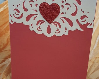 Valentine card red and beige