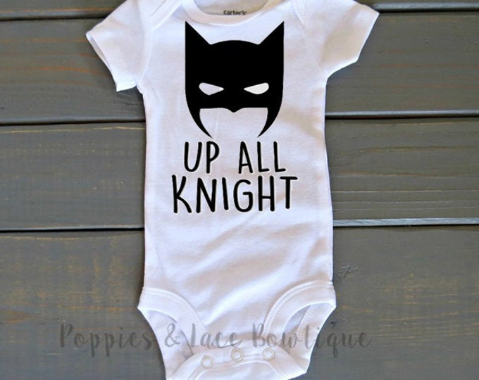 Up All Knight Bodysuit, Baby Batman, Funny Baby Clothing, Baby Shower Gift