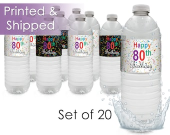 80th Birthday Favor Water Bottle Labels - Milestone 80th Party Supplies - 80th Decorations - Celebrate Turning 80 Birthday Party (Set of 20)
