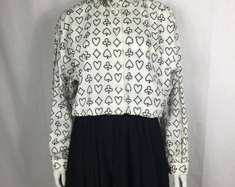 Vtg 80s Perry Ellis cotton button up cropped avant garde heart spade club diamond print op art top shirt