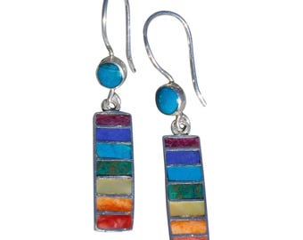 Seven Chakra color Stones Silver Earrings - Chakra Jewelry - Peruvian Jewelry - Yoga life - Spiritual symbol - Stone Earrings - Peruvian