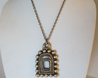 Vintage tribal amulet silver pendant on link chain