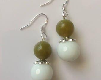 Sterling Silver White Agate & Korean Jade Gemstone Earrings, For Her, White, Agate, Korean Jade Earrings, Jade Earrings,