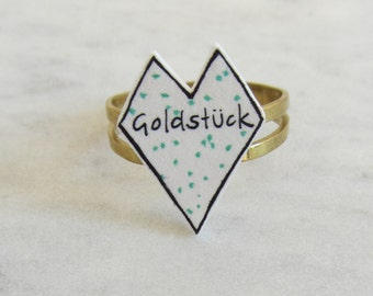 Ring filigree / heart/handmade/hand drawing/green/fresh/trend/gold/love/love/gold coin/friendship/affection/new