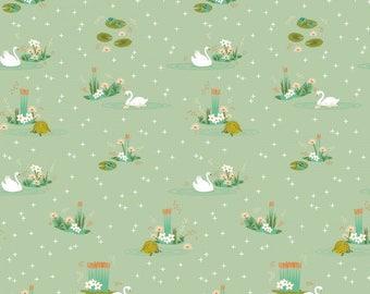 Organic Cotton Fabric, Swan Lake Mint, Birch Organic  Fabrics, Fabric by the yard