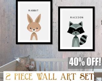 Nursery Animal Bunny, Rabbit Print, Nursery Bunny Print, Woodland Bunny Print, Nursery Forest Decor, Raccoon Print, Nursery Forest Art