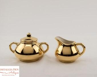 MCM Creamer and Sugar Bowl - 22 Kt Gold Hand Decorated Porcelain