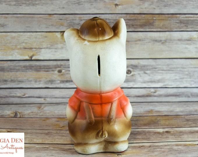 Chalkware Piggy Bank | Vintage 1950s Large Carnival Prize Figurine