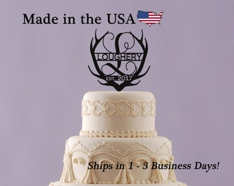 Deer Antler Cake Topper with Last Name, Established Date, Wedding Topper, Acrylic, Deer Decor, Wedding Cake Topper, Cake Decor, Groom LT1074
