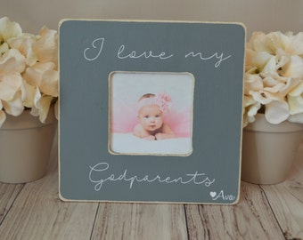 Godparents picture frame, custom picture frame,  picture frame, baptism frame, mother's day gift, personalized picture frame, Godmother gift