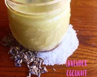 Lavender Coconut Sea Salt Scrub 6 ounce jars Free Shipping