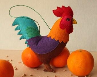 Rooster Felt Ornament