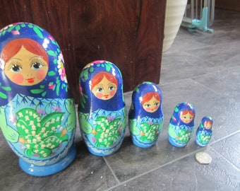 Russian HAND PAINTED Nesting Doll 5 Babushka Lily of the valley Unique matryoshka
