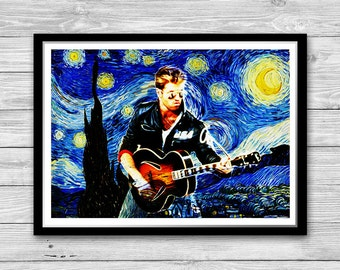 George Michael Print, Starry Night Print, Reproduction of Van Gogh Starry Night,George Michael Art Print, George Michael Cotton Canvas Print