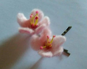 SUMMER SALE! A pair of Felted Cherry Blossom hair pins grips wedding hair accessories spring flowers Bobby Pin