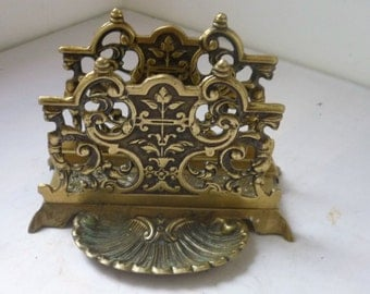 Brass victorian rack letter stand with shell shaped holder pen