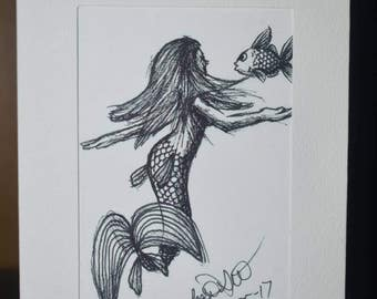 Mermaid interacts with a fish Original Drawing