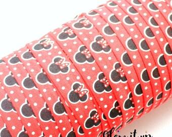 "Minnie Print FOE - Fold Over Elastic - 5/8"" elastic - Printed Elastic - Elastic Trim- Elastic Ribbon-FOE-minnie  mouse foe-headbands"