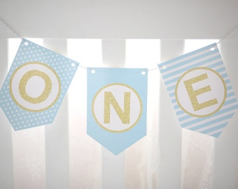 Blue ONE high chair banner,blue and gold first birthday banner,printable banner,blue& gold banner,cake smash prop,birthday prop,DIY banner