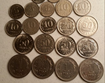 20 argentina vintage coins 1953 - 1959  - coin lot centavos pesos  - world foreign collector money numismatic a70