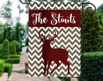 Personalized Garden Flag - Fall Large Buck - Winter Flag Monogrammed 12 by 18  Yard Flag Best Selling Gifts For Her Home Decor