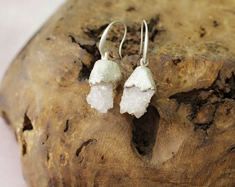 Crystal cluster silver earrings, electroformed silver earrings, quartz druse earrings, raw stone silver earrings, raw crystal earrings