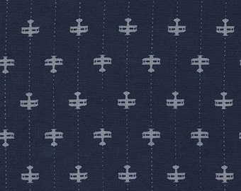 Michael Miller - Runway Planes - Navy and White - 100% Cotton Fabric by the Yard