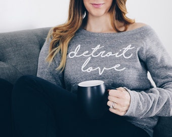 Detroit Love Grey Women's Sweatshirt | the perfect gift for someone who loves Detroit | cozy, wide-neck tri-blend