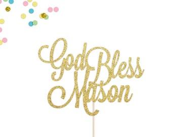 Custom God Bless Cake Topper | Baptism Cake Topper | Communion Cake Topper | Christening Cake Topper | Personalized God Bless Glitter Topper