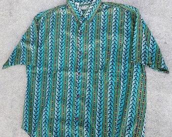 VTG 80s 90s Aztec Print Button Up Shirt By Impact | Vintage green Zig Zag | Men's | Hawaiian | TUFF