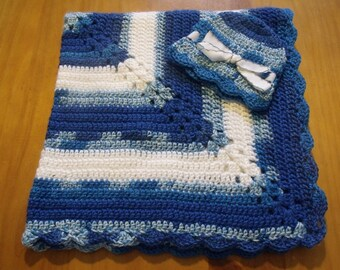 """NEW Handmade Crochet 28"""" Baby Blanket and Hat/Beanie Set - Blue & White Colts Wildcats - A Wonderful Baby Shower Gift!! - SEE NOTE!"""