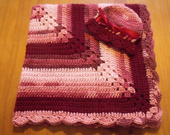 "NEW Handmade Crochet 28.5"" Baby Blanket and Hat/Beanie Set - Burgundy, Rose & Mauve Variegated - A Wonderful Baby Shower Gift!! - SEE NOTE!"