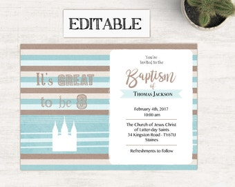 Baptism Invitation Boy, Editable PDF,  Editable file, Instant Download, Boy Invitation, LDS Baptism Invite, No Photo Needed
