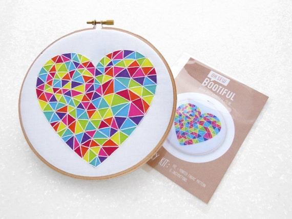 Rainbow heart embroidery fabric pattern beginner emboridery
