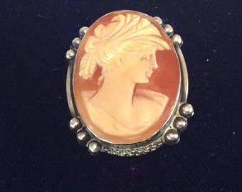 Continental silver 800 cameo shell brooch # 1061