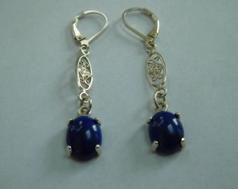 Blue agate and sterling silver drop earrings. Small and Delicate