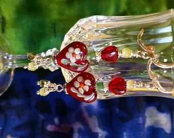 Red Lampwork Heart Earrings